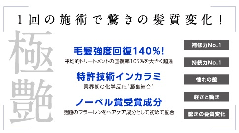 美容業界では少し前から噂になっていTOKIOのトリートメント♪ 従来のトリートメントと違うのは、内部補修の仕組み(インカラミ)です。今までのトリートメントは、ベタつく…持続しない…効果を感じない…等の結果になる事もありましたが、TOKIOは、その方の本来の傷んで無かった素髪へ戻すことが可能になりました。TOKIOの140パーセントの修復力の40パーセントは素髪以上のしなやかさがプラスされるということです。フェザーケラチン、人間由来ケラチン、羊毛ケラチン、その他4種類…全てのケラチンが絡み合い、傷んだ髪を再生いたします。